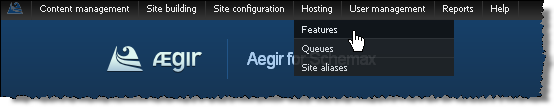 how to get to the Aegir features page